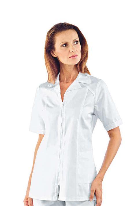 blouse de cuisine femme pas cher tunique médicale blanche manches courtes barcellona 100 coton