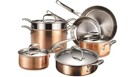 lagostina martellata tri ply hammered stainless steel copper oven safe  piece cookware set