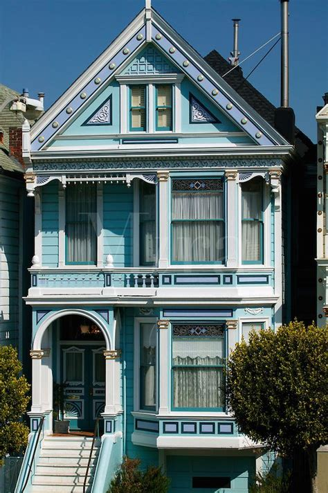 beautiful victorian san francisco house  navy blue