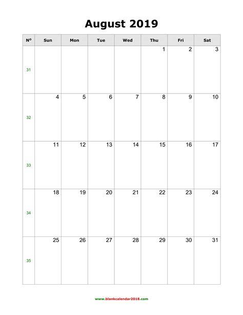 blank calendar  august