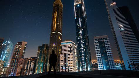 Download Wallpaper 1920x1080 Silhouette, Skyscrapers
