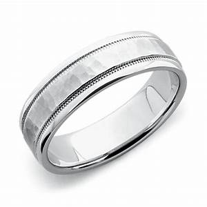 hammered milgrain comfort fit wedding ring in platinum With platinum engagement ring gold wedding band