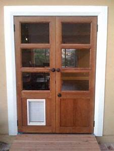 Hand Made Custom French Doors With Dog Door By Glerup