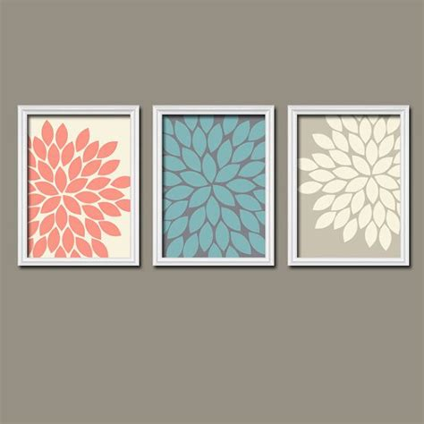 turquoise bathroom set beige turquoise coral navy flower burst dahlia bloom