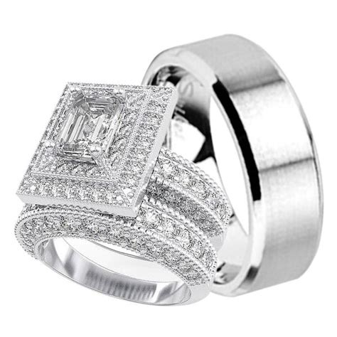 cz wedding ring sets engagement rings matching