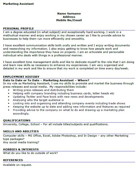 marketing assistant resume personal summary 28 images