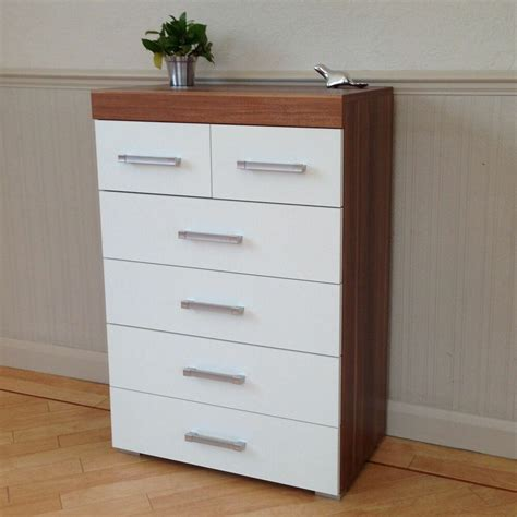 Bedroom Drawers White by Chest Of 4 2 Drawers In White Walnut Bedroom Furniture