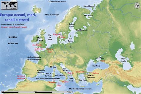 I Mari Bagnano L Europa Mari Canali Stretti Europa Con Carta Geografica