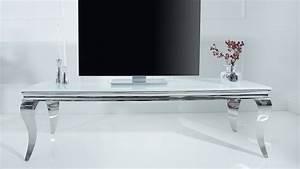 Meuble Tv 160 Cm : meuble tv baroque coloris blanc avec pieds chrom s zita gdegdesign ~ Teatrodelosmanantiales.com Idées de Décoration