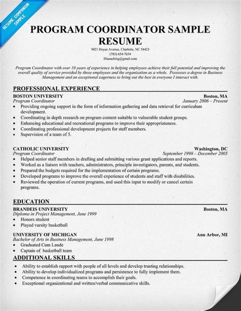 Program Coordinator Resume by Program Coordinator Resume Template Code