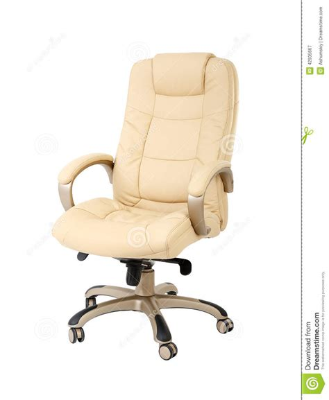 the office chair from beige leather stock photo image