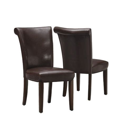 faux leather dining chair in brown set of 2 i1665br