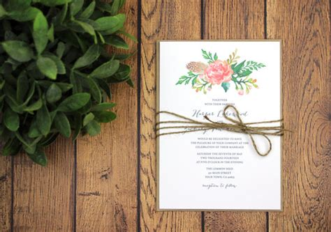 rustic modern wedding invitation  rsvp template