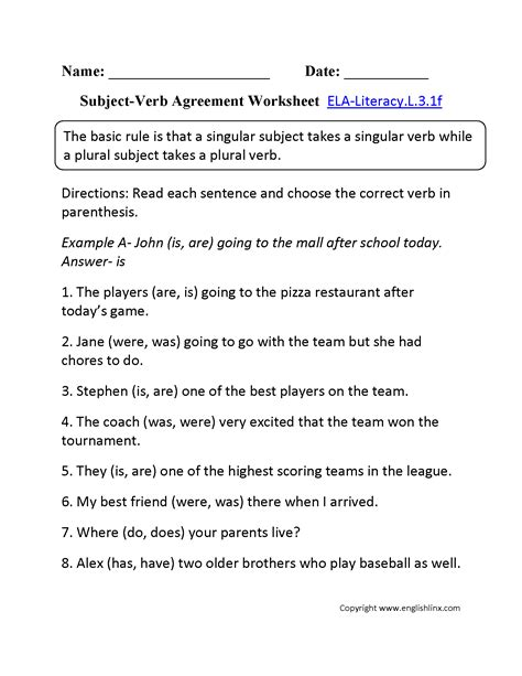 3rd grade common language worksheets
