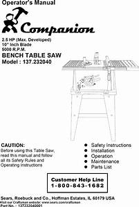 Companion 137232040 User Manual Table Saw Manuals And