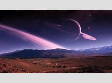 1366x768 Purple Planet Stars Landscape desktop PC and Mac