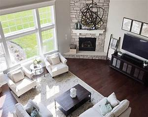 Similar floor plan and corner fireplace to our house
