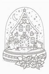 Coloring Snow Globe Sheet Drawing Sheets Globes Printable sketch template