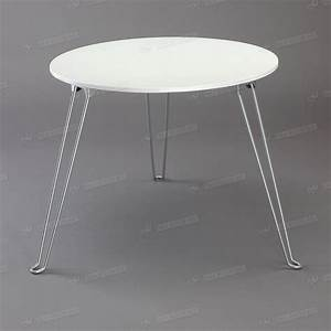white pp plastic top coffee table round metal tube three With round coffee table with metal legs
