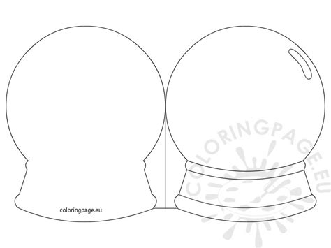 snow globe card template coloring page