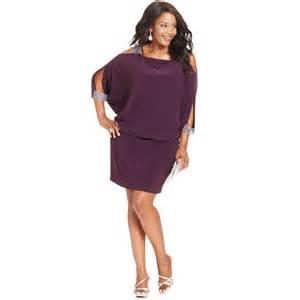 betsy and adam betsy adam plus size splitsleeve blouson dress in purple