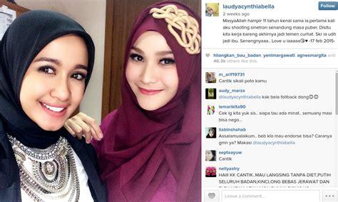 model jilbab laudya chintya bella gaya hijab ala laudya