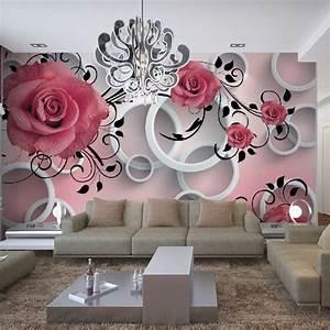 papel de parede 3D rose pattern living room sofa ...