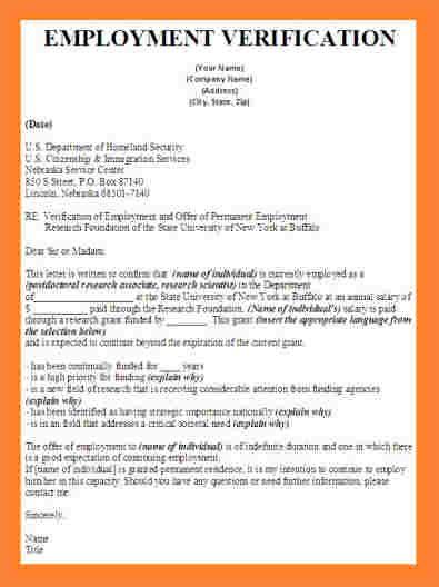 employment verification letter  visa template business