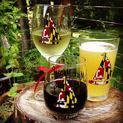 Maryland Flag Heart Stemless Hand Painted Wine Glass