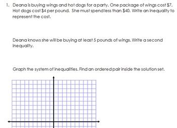 graphing systems of inequalities from a word problem worksheet by misscalcul8
