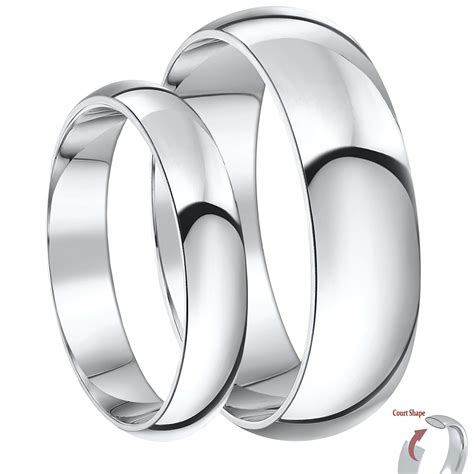 his hers 4 6mm 9ct white gold court shaped wedding ring white gold at elma uk jewellery