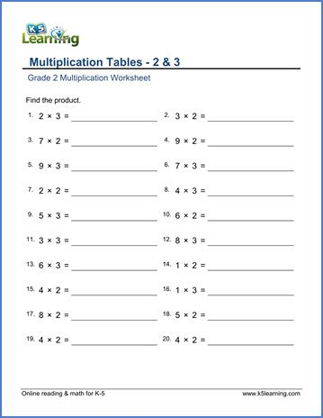 grade 2 math worksheets multiplication tables of 2 3