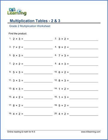 Grade 2 Multiplication Worksheets  Free & Printable  K5 Learning
