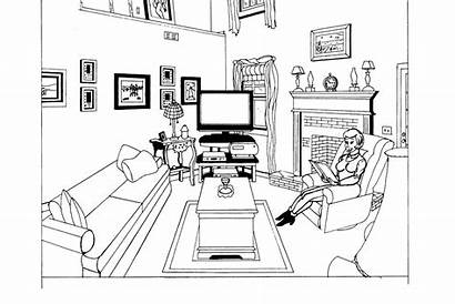 Living Perspective Point Coloring Pages Dining Mouse