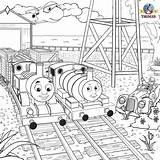 Thomas Coloring Engine Tank Steam Train Pages Drawing Percy Friends Sheets Printable Activity Railroad Rail Henry Port Locomotive sketch template