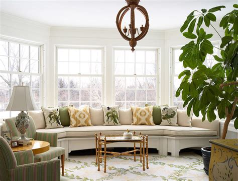 Sunroom With Built In Custom Curved Banquette