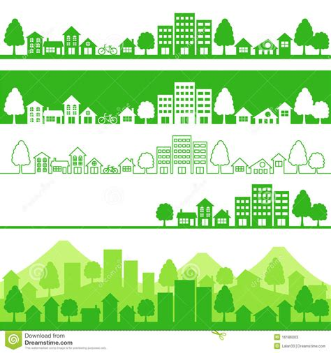 green silhouette eco city flat vector stock vector image eco town stock photos image 16186003 Beautiful