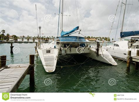 Catamaran Aruba Price by Catamarans Moored At Oranjestad Harbor Aruba Island Stock