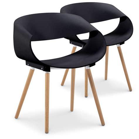 Chaises Noir by Chaises Scandinaves Design Zenata Noir Lot De 2 Pas Cher