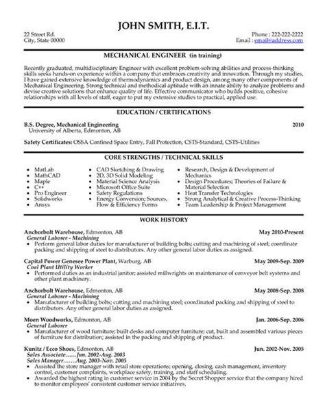 mechanical engineer resume templates