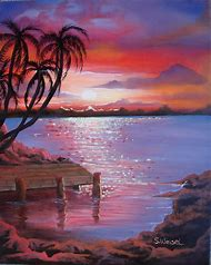 Easy Beach Sunset Paintings