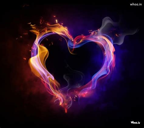 purple fire heart hd wallpaper