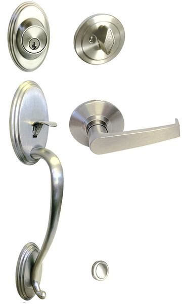 Satin Nickel Front Door Handle Set For Thick Door Style 8101S01DC entry entrance lock keyed