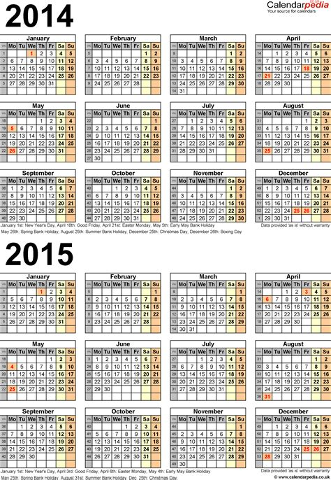 2014 15 Academic Calendar Template by Two Year Calendars For 2014 2015 Uk For Excel