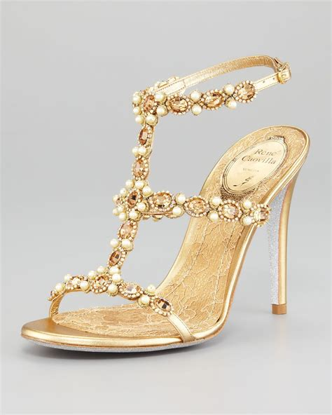 T Strap Beaded Sandal By René Caovilla Indian Bridal Shoes