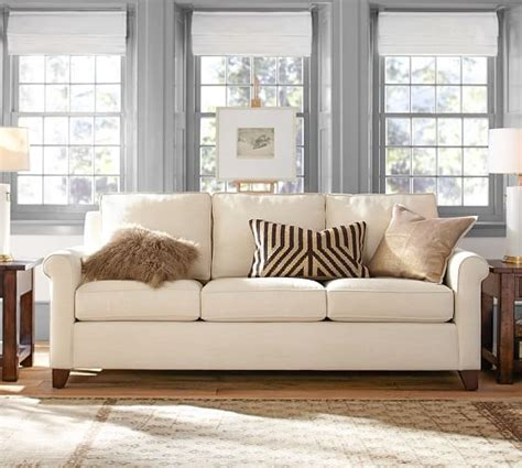 Pottery Barn Loveseat cameron roll arm upholstered sofa pottery barn