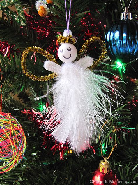 ornaments christmas easy angels feather pipe cleaner angel kid crafts craft decorations ornament diy feathers using tree decor powerfulmothering natal