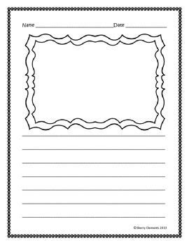 Freebie Writing Paper (lined With Drawing Frame) Click On The Green Star To Follow Me To Be