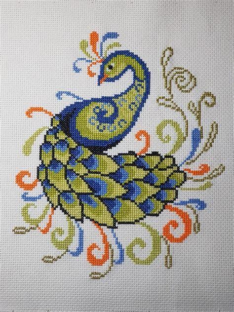 peacock cross stitch pattern modern cross stitch pattern