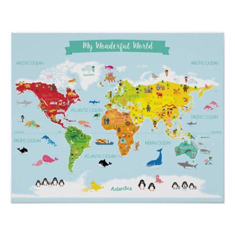 carte du monde enfant poster carte lumineuse du monde d enfants avec des zazzle fr